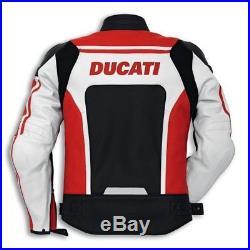 DUCATI CORSE DAINESE veste en Cuir Perforé Rouge/blanc blouson moto cuir NEUF