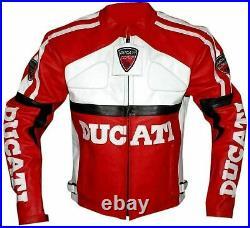 DUCATI Veste en Cuir Motard MOTOGP Veste en Cuir de Moto Veste de Motard en Cuir