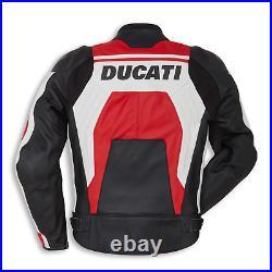 DUCATI Veste en Cuir de Moto Veste Motard en Cuir Hommes Veste en Cuir de Motard
