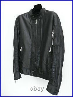 D&G DOLCE & GABBANA Blouson Noir Veste Noire Homme Elements Cuir T50