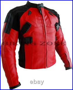 Deadpool Style Hommes Rouge Protection Moto / Veste Cuir Moto