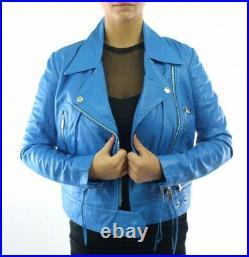 Diesel Blouson Perfecto Neuf Femme Cuir D'agneau Bleu Taille L