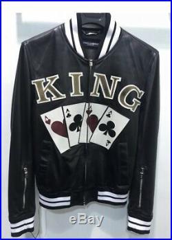 Dolce & Gabbana Neuf avec Étiquettes Cuir Noir King Ace Blouson Motard Veste I