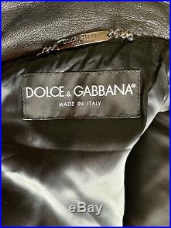Dolce & Gabbana Veste Homme Noir Cuir Blouson Bomber Taille It 52