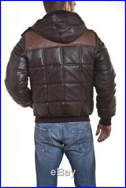 Doudoune blouson manteau veste cuir véritable schott taille m neuf