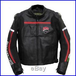 Ducati Corse Noir Racer Moto / Moto Veste Cuir Approuvé Ce