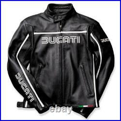 Ducati Dainese 80´S Femmes Veste en Cuir Femme Noir Blanc Neuf