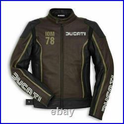 Ducati Hommes Moto Veste en Cuir Courses MOTOGP Motard Blousons Cuir Vestes CE