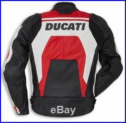 Ducati Original Moto Veste en Cuir Corse C4 Rouge/Blanc Dainese Drudi Vachette