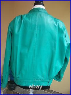 Ensemble Original Pantalon + Blouson Cuir Agneau Plonge Vert Cru T 36/38/40 Tbe