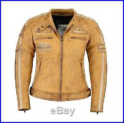 FEMMES MOTO VESTE EN CUIR blouson moto cuir vachette TOURING veste taille 36-44