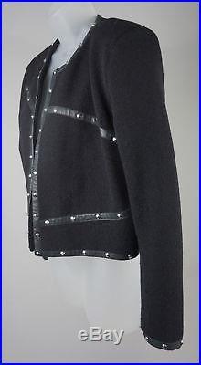 Femmes The Kooples Noir Laine Émaillé Bordure Cuir Veste Blouson Taille 42