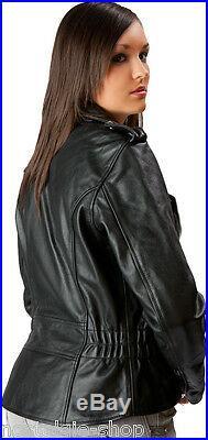 Femmes Veste en Cuir Blouson Moto Motard, Rocker Rockabilly Habitude Marlon