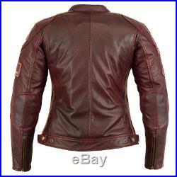 Femmes blouson de motard blouson moto rétro rouge veste en Cuir Gr S-XXL