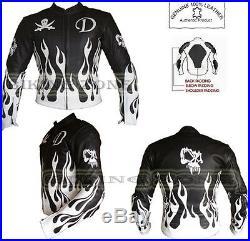 Flamme Skelet Noir & Blanc Hommes Moto / Moto & Mode Veste en Cuir