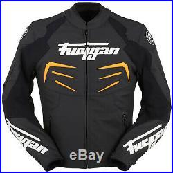 Furygan Énergie Veste en Cuir Moto Hommes Sport Noir Orange