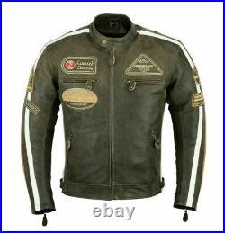 GMA. Harley Style Veste en cuir de moto Veste Reto Biker. S à 4XL