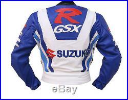 GSXR SUZUKI Cuir Biker Veste Courses Sports Cuir Veste Moto Cuir Veste EU-48-58