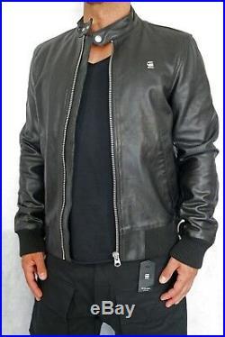 G-Star Homme Cuir Blouson Jacor Cuir Veste Bomber TAILLE M Noir + Nouveau+
