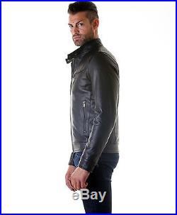 Giacca Giubbotto Pelle Uomo Men Leather Jacket Veste Blouson Homme Cuir Emiliano