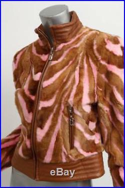 Gianni Versace Couture Rayure Foncé Pink Mink Fourrue Cuir Veste Blouson Manteau