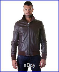 Giubbotto in di Pelle Uomo Men Leather Jacket Veste Blouson Homme Cuir mod. 109