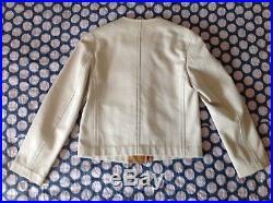 HERMÈS Paris blouson veste Jacket Coat en Coton et Cuir Leather- T. 38