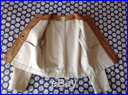 HERMÈS Paris blouson veste Jacket en Coton et Cuir Leather- T. 38