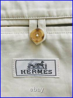 HERMÈS blouson coupe vent coton et cuir taille 52