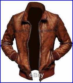 HOMME Vintage Brun Veste Cuir Délavé Style Motard Blouson Veste Hiver