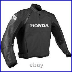 HONDA Veste en Cuir de Motard Hommes Veste en Cuir de Moto Veste Motard en Cuir