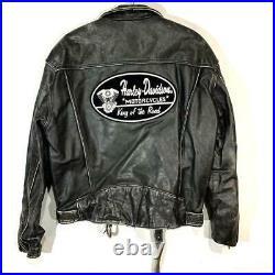 Harley Davidson Double Cuir Motards Veste Blouson Extérieur Patch L Taille Rétro