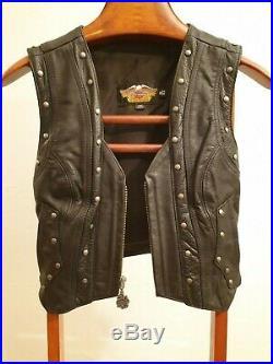 Harley Davidson Gilet Cuir/Leather Vintage Motorcycle Vest Femme/Woman