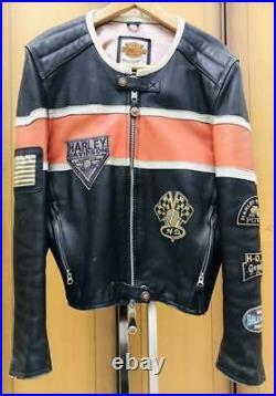 Harley Davidson Motards Veste Cuir Blouson Extérieur Homme M Patch Vintage Vélo