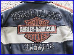 Harley Davidson Neuf Étiquetté Veste Blouson Cuir Noir & Orange Taille S/m