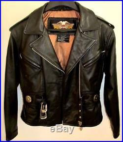 Harley Davidson Veste Blouson Cuir Noir Epais Taille M/l