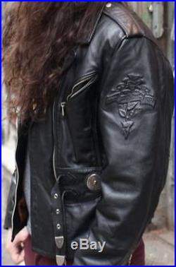 Noir Epais Davidson Harley Ml Taille Blouson Cuir Veste pIpqaF