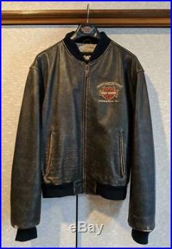 Harley Davidson Veste Motard Cuir Extérieur Blouson Logo TAILLE De Japon Utilisé