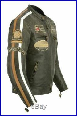 Harley Style Veste en cuir de moto Veste Reto Biker. S à 4XL