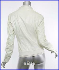 Henry Beguelin Femmes Cuir Blanc Réversible Veste Blouson Manteau 6-42