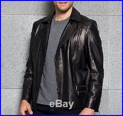 Homme Blouson Souple Style Rétro Zippé Veste De Motard En Cuir Véritable Casual