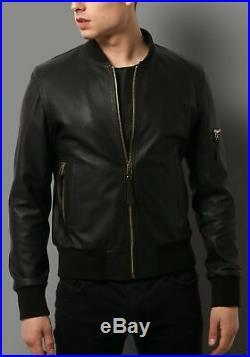 Homme Blouson Veste Cuir Moto Motard Véritable Peau D'Agneau Souple Slim Fit