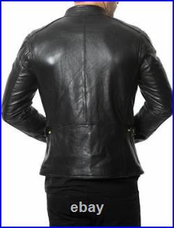 Homme Véritable Blouson Veste Cuir Moto Motard Véritable Peau D'Agneau Noir Slim
