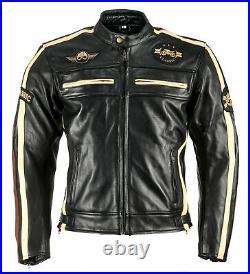 Hommes Blouson Moto Classic Veste de Moto en Cuir Rétro Veste de Motard Noir