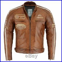 Hommes Blouson Moto, Vintage, Rétro Veste, Rétro Racer 100% Cuir Véritable