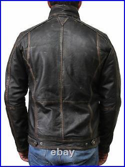 Hommes Cuir Véritable Blouson Motard Veste Vintage Racing Matelassé Délavé Black