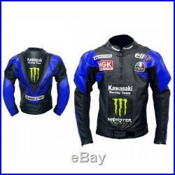 Hommes Motard Vestes Bleu Noir Cuir Moto Courses Armure Protecteur Sports Fermez