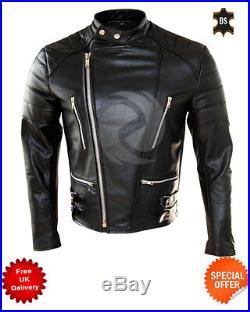 Hommes Moto Noir Veste de Motard en Cuir Classique Brando Vache