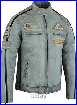 Hommes Moto Veste en Cuir Blouson Motard Vintage, Rétro Gris