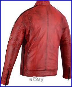 Hommes Moto Veste en Cuir Blouson Motard Vintage, Rétro Rouge